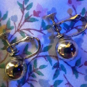 Earrings silver dangle clip on